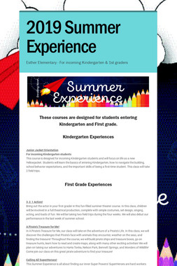 2019 Summer Experience Classes