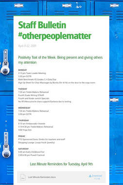 Staff Bulletin #otherpeoplematter