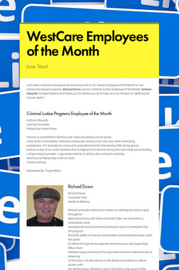 WestCare Employees of the Month
