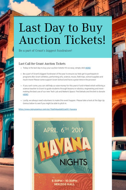 Last Day to Buy Auction Tickets!
