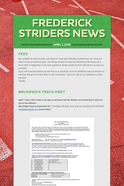 Frederick Striders News