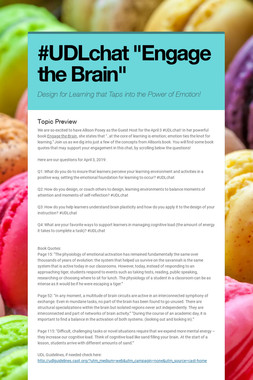 """#UDLchat  """"Engage the Brain"""""""