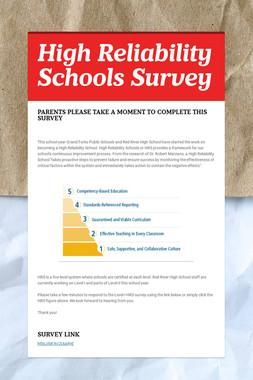 High Reliability Schools Survey