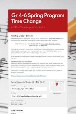 Gr 4-6 Spring Program Time Change