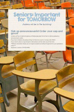 Seniors: Important for TOMORROW