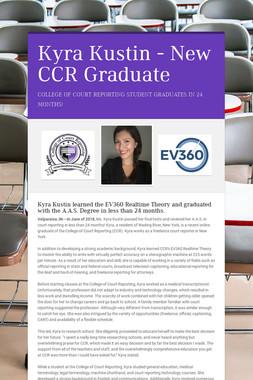 Kyra Kustin - New CCR Graduate