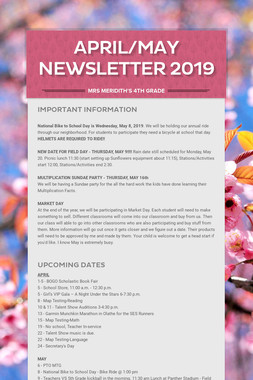 April/May Newsletter  2019