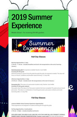 2019 Summer Experience