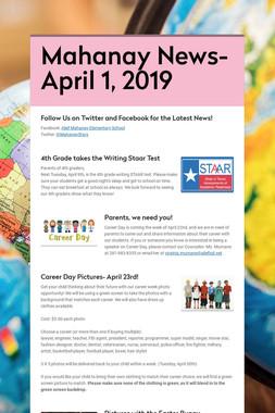 Mahanay News- April 1, 2019