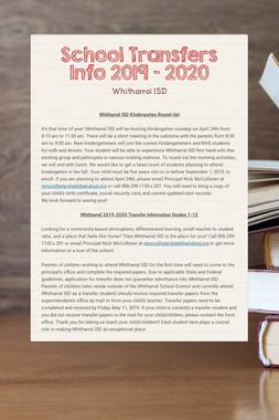 School Transfers Info 2019 - 2020