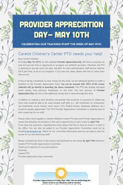 Provider Appreciation Day- May 10th