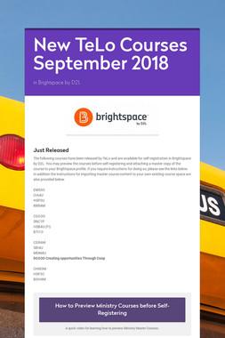 New TeLo Courses September 2018