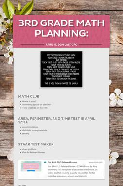 3rd Grade Math Planning: