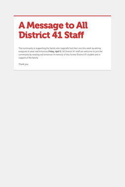 A Message to All District 41 Staff