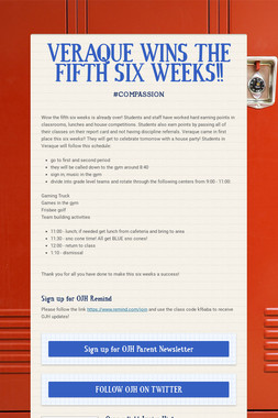 VERAQUE WINS THE FIFTH SIX WEEKS!!
