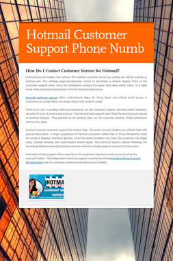 Hotmail Customer Support Phone Numb