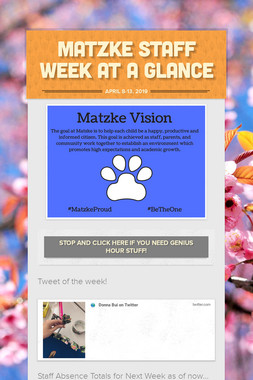 Matzke Staff Week at a Glance