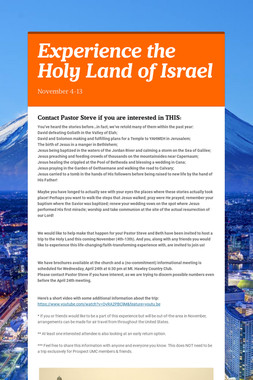 Experience the Holy Land of Israel