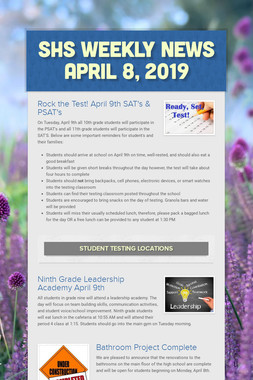 SHS Weekly News April 8, 2019