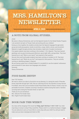 Mrs. Hamilton's Newsletter