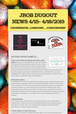 JROB Dugout News 4/15- 4/18/2019