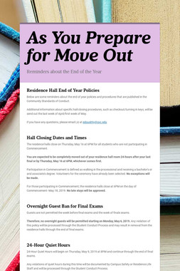 As You Prepare for Move Out