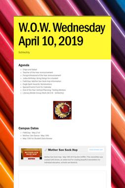 W.O.W. Wednesday April 10, 2019