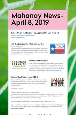 Mahanay News- April 8, 2019