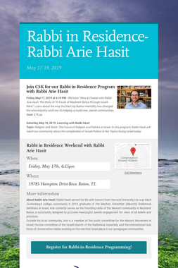 Rabbi in Residence-Rabbi Arie Hasit