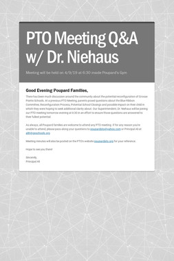 PTO Meeting Q&A w/ Dr. Niehaus