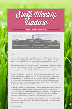 Staff Weekly Update
