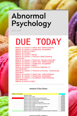 Abnormal Psychology