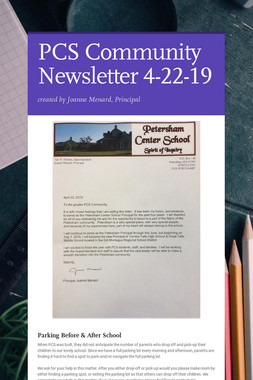 PCS Community Newsletter 4-22-19