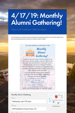 4/17/19: Monthly Alumni Gathering!