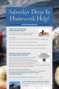 Saturday Drop-In Homework Help!