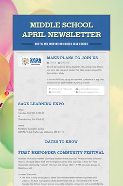 Middle School April Newsletter