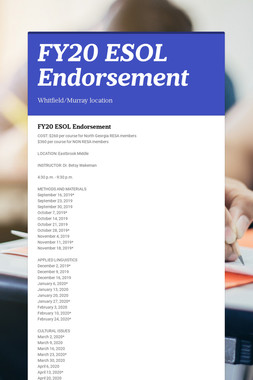 FY20 ESOL Endorsement