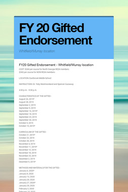 FY 20 Gifted Endorsement