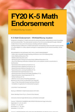 FY20 K-5 Math Endorsement