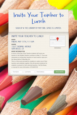 Invite Your Teacher to Lunch