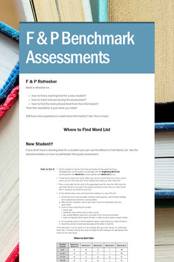 F & P Benchmark Assessments