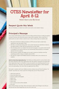 OTES Newsletter for April 8-12