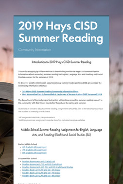 2019 Hays CISD Summer Reading