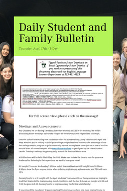 Daily Student and Family Bulletin