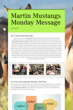 Martin Mustangs Monday Message