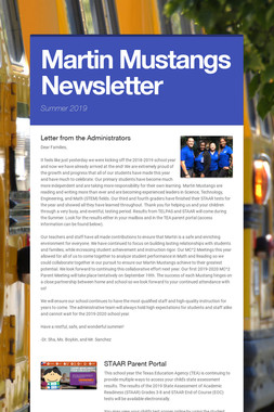 Martin Mustangs Newsletter