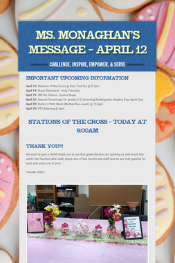 Ms. Monaghan's Message - April 12