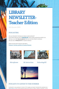 LIBRARY NEWSLETTER- Teacher Edition