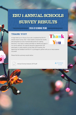 ESU 1 Annual Schools Survey Results