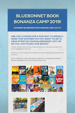 Bluebonnet Book Bonanza Camp 2019!